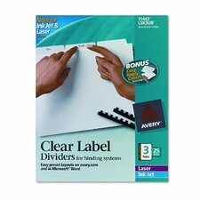 Index Maker Clear Label Unpunched Divider (3 Tabs, 25 Sets/Pack)