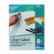 Index Maker Clear Label Unpunched Divider (5 Tabs, 25 Sets/Pack)