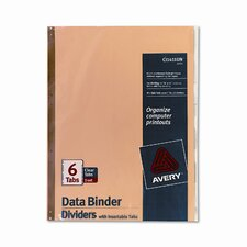 Gold Line Data Binder Insertable Tab Index, 14-7/8 X 11 (6 Tabs, 6/Set)
