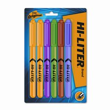 Fluorescent Highlighter, Chisel Tip, Fluor GN, OE, PK, PE, 2-YW, 6/set