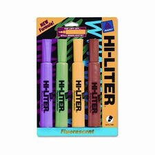 Fluorescent Highlighter, Chisel Tip, Blue/Green/Pink/Yellow Ink, 4/pack