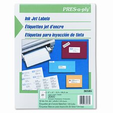 Pres-A-Ply 20-Up Address Inkjet Labels, 4 x 1, White, 2000/Box (Set of 2)