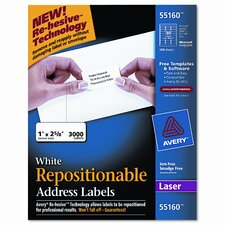 Re-Hesive Laser Labels, 3000/Box