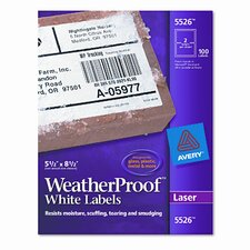 White Weatherproof Laser Shipping Labels, 100/Pack