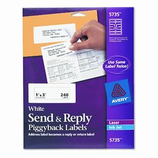 Send and Reply Piggyback Inkjet/Laser Printer Labels, 240/Pack