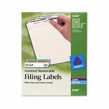 Removable Filing Labels for Inkjet/Laser, 750/Pack