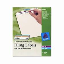 Removable Filing Labels for Inkjet/Laser, 750/Pack