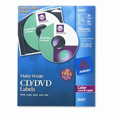 Laser CD/DVD Labels, 30/Pack