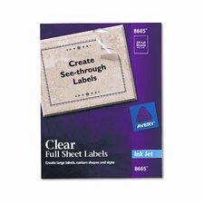 8665 Full-Sheet Inkjet Labels (25/Pack)