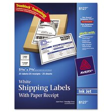 Shipping Labels with Paper Receipt, 25/Pack