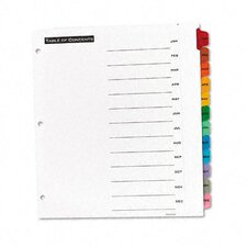 Office Essentials Office Essentials Table 'N Tabs Dividers, 12-Tab, Months, Letter, Set