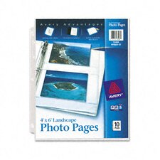 Photo Pages for Four 4 X 6 Horizontal Photos, 3-Hole Punched (10/Pack)