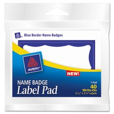 Name Badge Label Pads, 40/Pack
