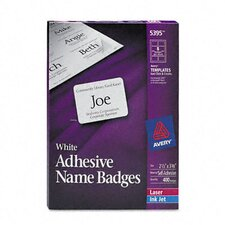 "Flexible Self-Adhesive Laser/Inkjet Name Badge Labels, 2.33"" Wide, 400/Box"