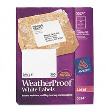 White Weatherproof Laser Shipping Labels, 300/Pack