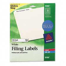 Permanent Self-Adhesive Laser/Inkjet File Folder Labels (750/Pack)