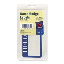 "Name Badge Labels,""Hello"",2-11/32""x3-3/8"",25/PK, Blue"