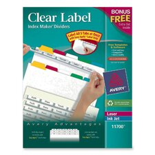Index Makers,w/ Label Dividers, 5-Tab, Color Tabs