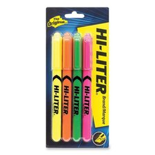 Pen Style Highlighters, Chisel Point, Fluroesecent Yellow/Pink/Orange/Green, 4-Pack
