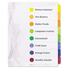 Designer Index Dividers, 8-Tab, Multi