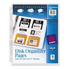 Disk Organizer Pages, Archival-safe, Acid-free, 10 per Pack, Clear