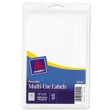 "Removable Multipurpose Labels,3/8""x5/8"", 1008 per Pack, White"