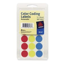 "Color Coding Labels, 3/4"" Dia., Removable, 306 per Pack, Assorted"