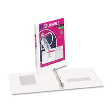 "Durable Vinyl View Binder, 11 x 8-1/2, 1/2"" Capacity, White"