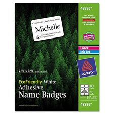 Ecofriendly Name Badge Labels, 80/Pack
