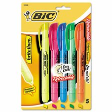 Chisel Tip Brite Liner Retractable Highlighter (5/Set)
