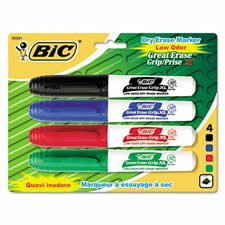 Great Erase Grip Dry Erase Chisel Tip Markers (4 Pack)