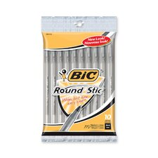 <strong>Bic Corporation</strong> Round Stic Ballpoint Pen,Med. Point,10/PK,Black Ink