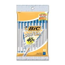 <strong>Bic Corporation</strong> Stic Ballpoint Pen,Medium Point,10/PK,Blue Ink/Clear Barrel