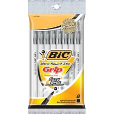 <strong>Bic Corporation</strong> 8 Count Round Stick Ultra Grip Ball Pen in Blue