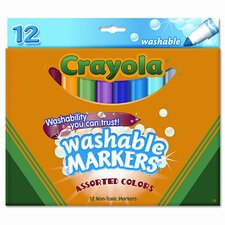 Washable Broad Point Markers (12/Set)