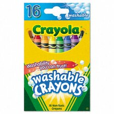 Washable Regular Crayons (16/Box)