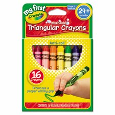 <strong>Crayola LLC</strong> My First Washable Triangular Wax Crayons (16 Pack)