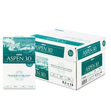 Aspen 30% Recycled Office Paper, 92 Bright, 20 Lb, 8-1/2 X 14, 5000/Carton