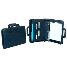 Leather-Look Zip Around Ring Binder Padfolio