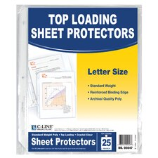 "11"" H x 8"" W Top Loading Sheet Protectors (Pack of 25)"