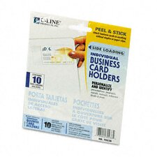 Self-Adhesive Business Card Holders, Side Load, 3-1/2 X 2, Clear, 10/Pack