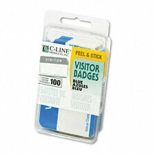 "Self-Adhesive Name Badges, ""Visitor"", 2 x 3 1/2, Blue, 100 Per Box"