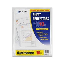 "Standard Weight Poly Sheet Protectors, Poly, Top Loading, 8-1/2""x11"", 10/PK, CL"