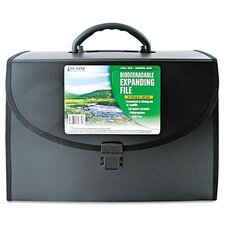 Biodegradable 21-Pocket Legal Size Expanding File with Handle, Black, 1/EA