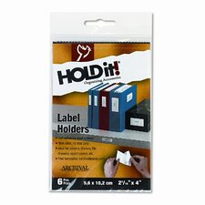 Self-Adhesive Label Holders for Binders, 2 3/16 x 4, 8 per Pack