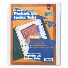 Ring Binder Divider Pockets with Index Tabs, 8-1/2 X 11 (5/Pack)