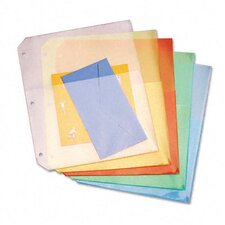 Ring Binder Poly Pockets, 8-1/2 x 11, Assorted Colors, Five per Pack