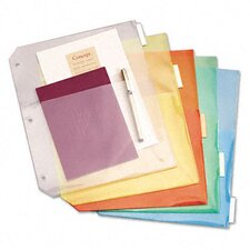 Ring Binder Divider Pockets with Index Tabs (5/Pack)
