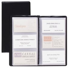 "Card Holder, Business, 72-Card Capacity, 7-3/4""x4-3/8"", Vinyl, Black"