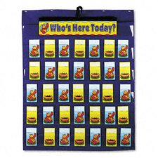 Attendance/Multiuse Pocket Chart, 35 Pockets/Two-Sided Cards